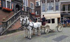 trouwcoupe met 2 witte paarden