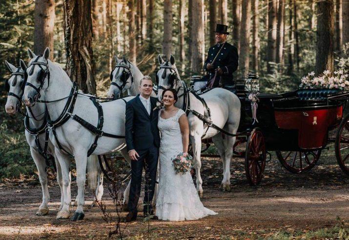 trouwkoets met witte paarden huren