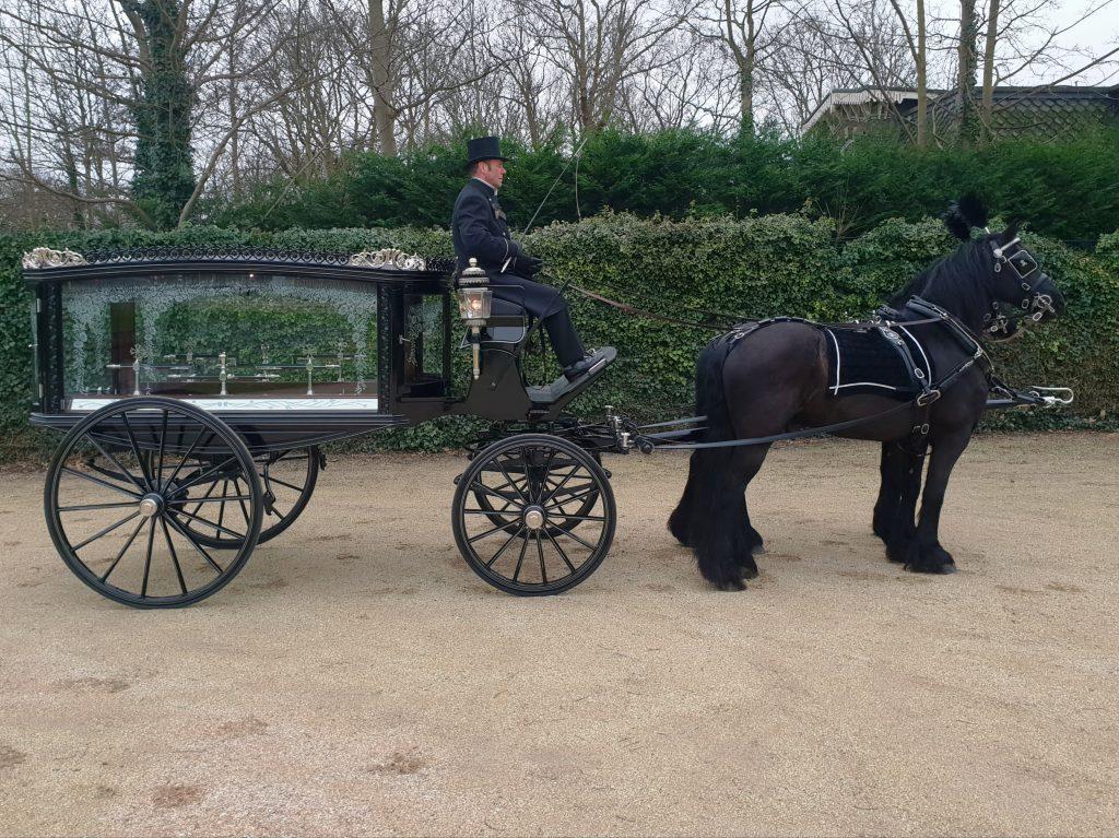 begrafeniskoets met 2 paarden